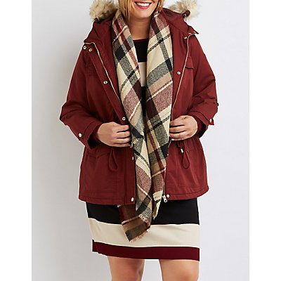 Plus Size Faux Fur Hooded Anorak Jacket