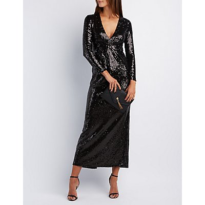 Sequin Plunging Maxi Dress