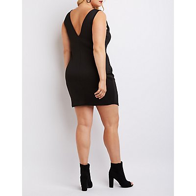 Plus Size Caged Asymmetrical Bodycon Dress