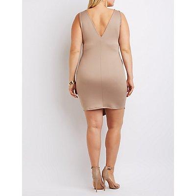 Plus Size Caged Asymmetrical Bodycon Dress