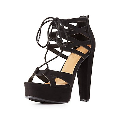 Bamboo Caged Lace-Up Platform Sandals