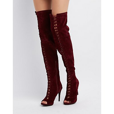 Velvet Lace-Up Over-The-Knee Boots