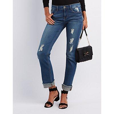 Sneak Peek Destroyed Crop Boyfriend Jeans