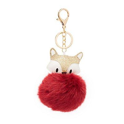 Faux Fur Ball Fox Keychain
