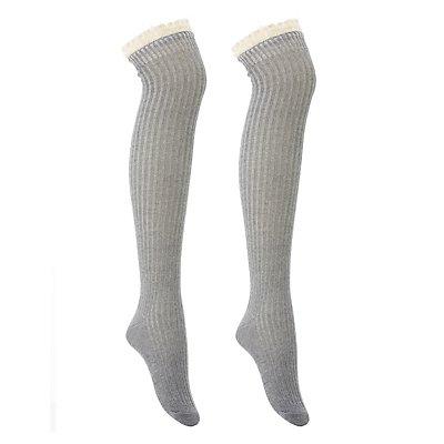 Ruffled Crochet-Trim Over-The-Knee Socks