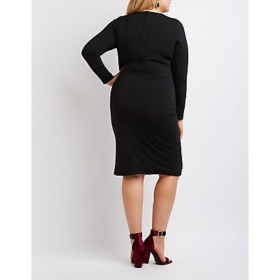 Plus Size Lattice-Inset Bodycon Dress