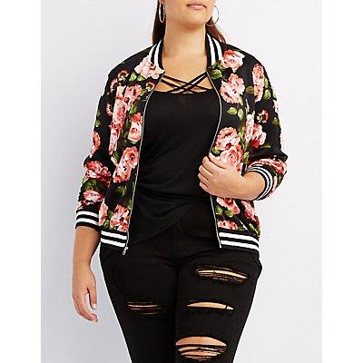 Plus Size Floral Striped Bomber Jacket