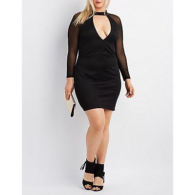 Plus Size Mesh-Sleeve Bodycon Dress