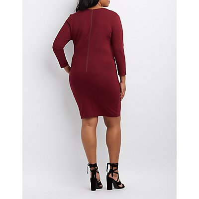Plus Size Caged O-Ring Bodycon Dress