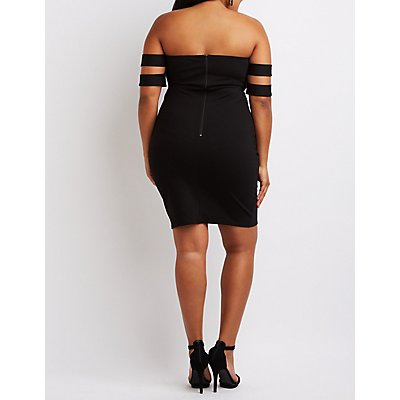 Plus Size Banded Off-The-Shoulder Bodycon Dress
