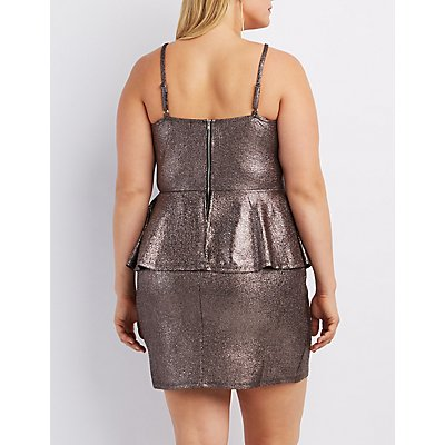 Plus Size Metallic Caged Peplum Dress