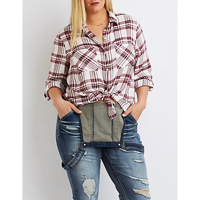 Plus Size Plaid Button-Up Shirt