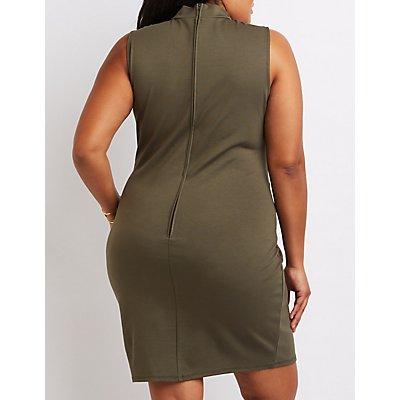 Plus Size Mock Neck Lattice Bodycon Dress