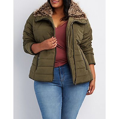 Plus Size Faux Fur-Trim Quilted Puffer Jacket