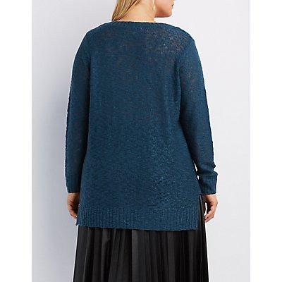 Plus Size Slub Knit V-Neck Sweater