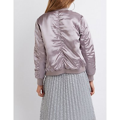 Metallic Satin Bomber Jacket