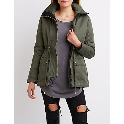 Sherpa Lined Hooded Anorak Jacket