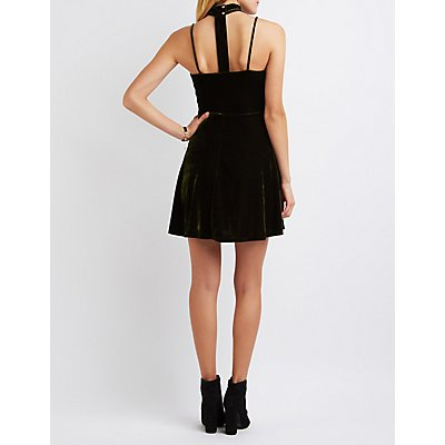 Velvet Floating Mock Neck Skater Dress
