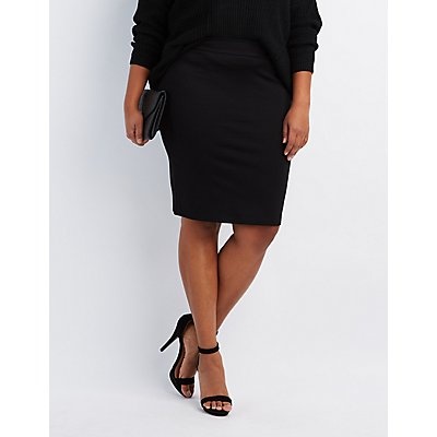 Plus Size Ponte Knit Pencil Skirt