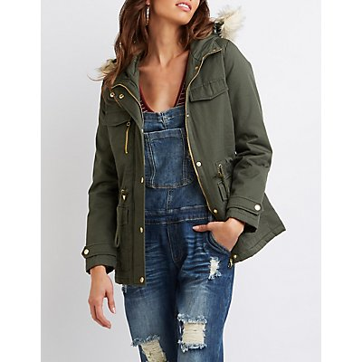 Faux Fur Hooded Anorak Jacket