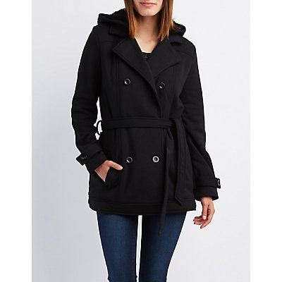 Fleece Double-Breasted Hooded Peacoat