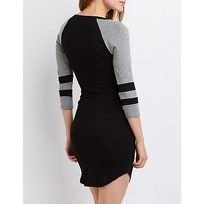 Varsity Stripe Raglan T-Shirt Dress