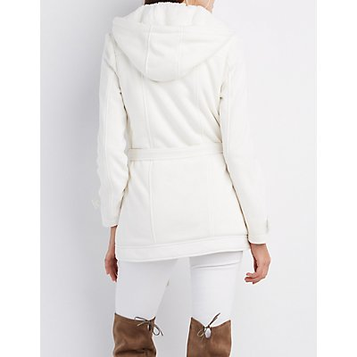 Fleece Double-Breasted Hooded Peacoat