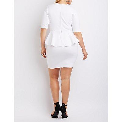 Plus Size Lattice Peplum Dress