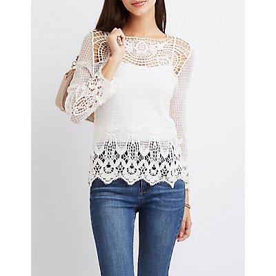 Macrame & Crochet Tunic Top