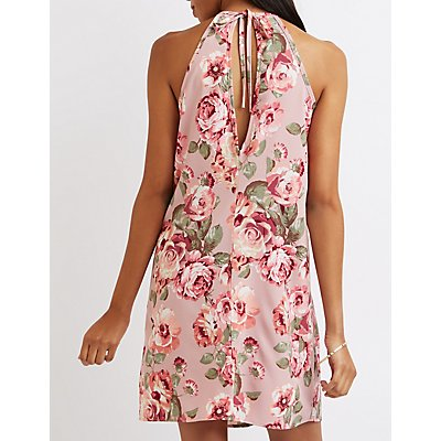 Floral Ruffled Shift Dress