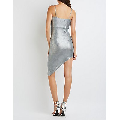 Shimmer Asymmetrical Bodycon Dress