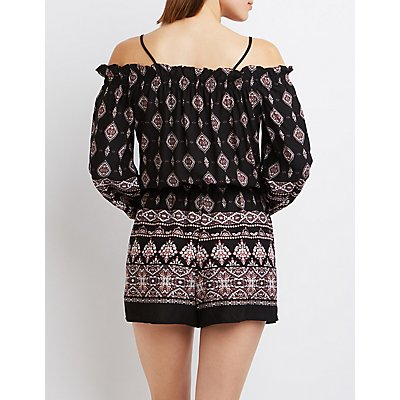 Printed Smocked Cold Shoulder Romper