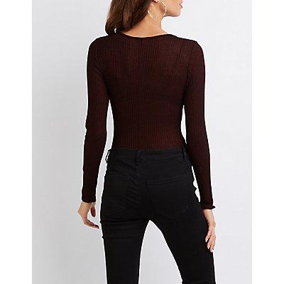 Marled Zip-Front Bodysuit