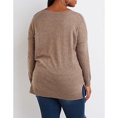 Plus Size Drop Shoulder Sweater