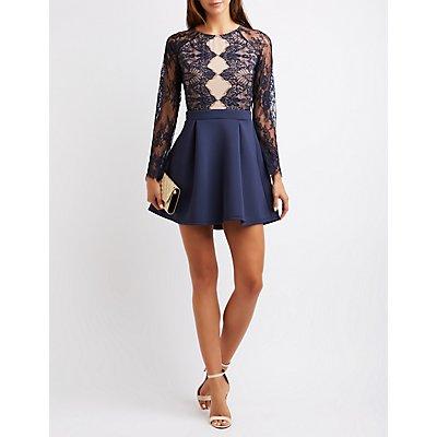 Lace Bodice Skater Dress