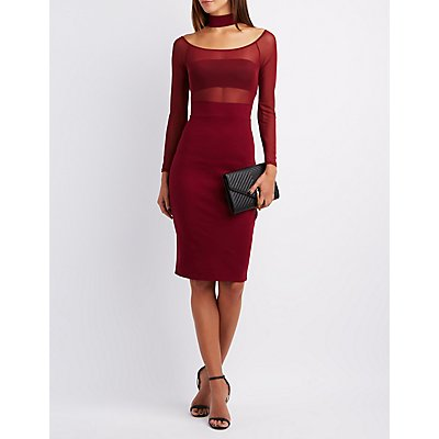 Floating Mock Neck Mesh-Bodice Dress