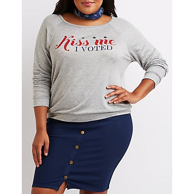 Plus Size Kiss Me I Voted Graphic Sweatshirt