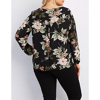 Plus Size Floral Strappy Blouse