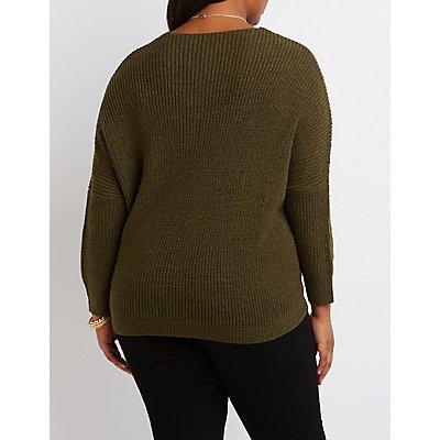 Plus Size V-Neck Pointelle Sweater