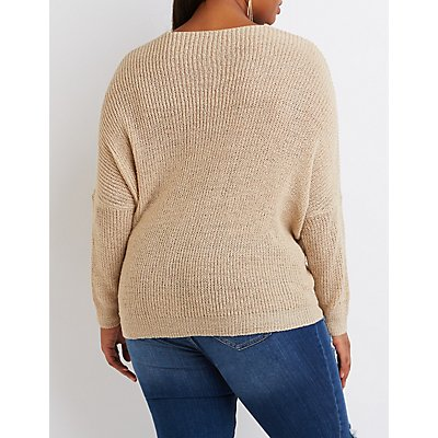 Plus Size V-Neck Pointelle Sweater