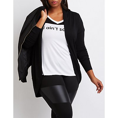 Plus Size Shawl Collar Cocoon Cardigan