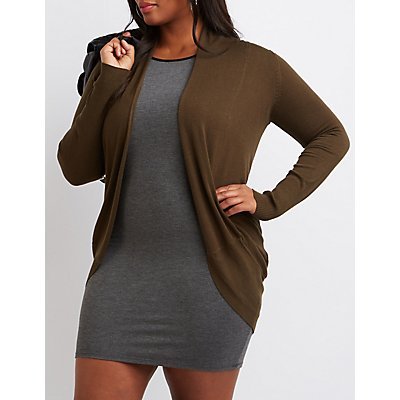 Plus Size Shawl Collar Cocoon Cardigan