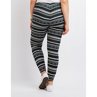 Plus Size Tribal Print Leggings