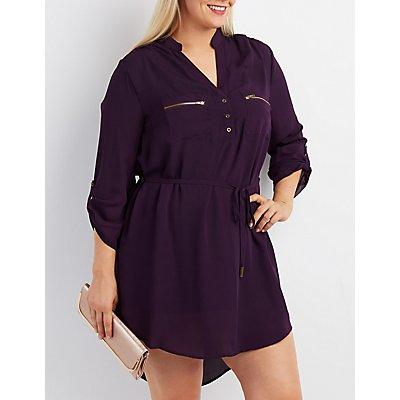Plus Size Zip-Pocket Shirt Dress