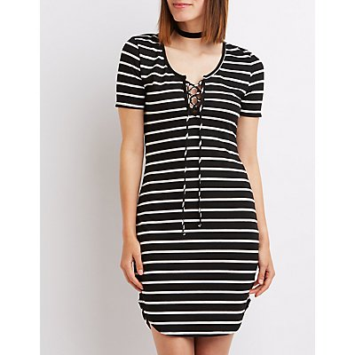 Striped & Ribbed Lace-Up Dress