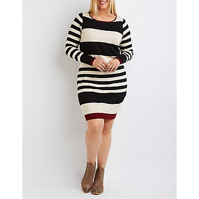 Plus Size Striped Sweater Dress