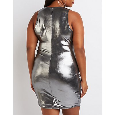 Plus Size Metallic Caged Dress