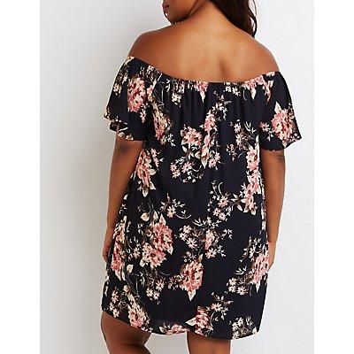 Plus Size Floral Off-The Shoulder Keyhole Dress