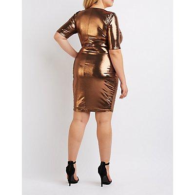 Plus Size Metallic Lattice Bodycon Dress