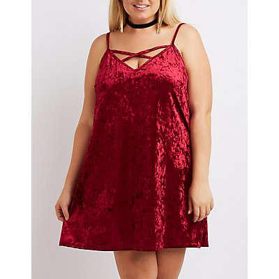 Plus Size Velvet Strappy Shift Dress